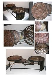 artistic coffee steel and copper coffee table artist sculptor metalsmith