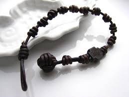 cross knot bracelet images Knotted men leather rosary bracelet monkey fist knot wooden jpg