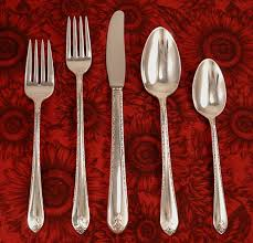 Flatware Sets by Rogers Exquisite Vintage 1940 Art Deco Silver Plate Flatware From