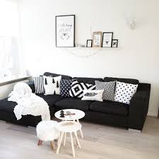 Black Sofa Living Room Living Room Black Couches And White Pillows Traditional Living