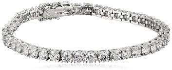 sterling tennis bracelet images Platinum plated sterling silver tennis bracelet set with round cut jpg