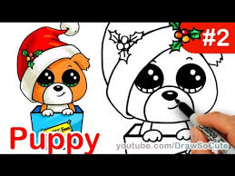 draw puppy christmas present step step easy holiday