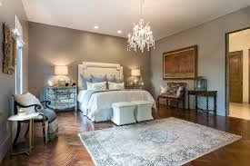 Chandelier In Master Bedroom Modern Victorian Master Bedroom With Mirrored Drawers And Classic