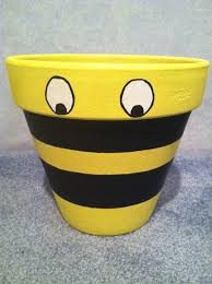How To Make Clay Vases By Hand Hand Painted Pot Flower Pot Clay Pot Bumble Bee Decor Garden