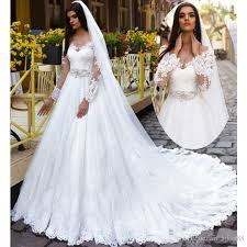 a line wedding dresses 2017 scoop long sleeve lace up bridal gowns