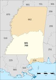 Mississippi Zip Code Map by Area Codes 601 And 769 Wikipedia