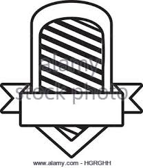 shield shape star and ribbon outline empty vector illustration eps