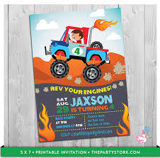 custom invites truck invitation printable personalized boys jam