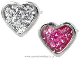 sensitive earrings hypoallergenic studex sensitive surgical steel heart glitter