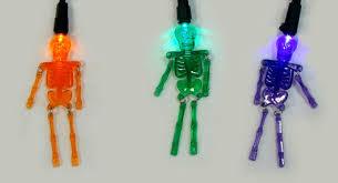 set of 20 purple orange and green led skeleton halloween lights