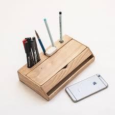 Pen Organizer For Desk Estuche Wood Desk Organizer U2013 Pen Holder And Iphone Stand