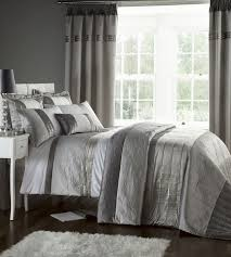 bedroom quilts and curtains silver grey luxury duvet quilt cover bedding bed set or curtains
