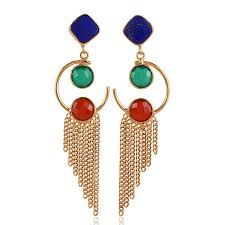 ear ring image lapis and onyx multi gemstone earring gold plated fashion earring
