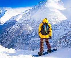snowboard winter rides yellow jacket stock image image of