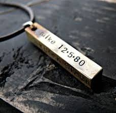 Personalized Stamped Necklace Hand Stamped Mens Necklace Rustic Copper Bar Hand Stamped Jewelry