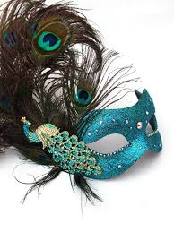 peacock venetian mask luxury diamante peacock feather