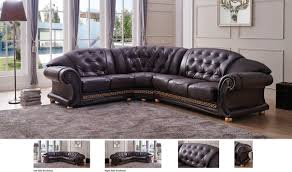 Left Sided Sectional Sofa Versa Leather Sectional Sofa In Brown Free Shipping Get Furniture