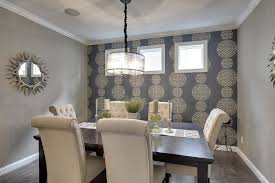 traditional dining room with pendant light u0026 crown molding in