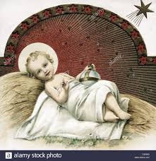 religion kitsch baby jesus lying on straw with the globus