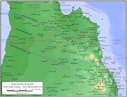 Great Barrier Reef Map 2012 Solar Eclipse Path Queensland Map