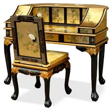 leaf crane motif harpsichord style desk w chair