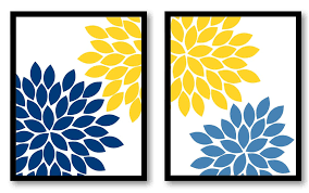 Navy Bathroom Decor by Flower Print Yellow Royal Blue Navy Chrysanthemum Flowers Art