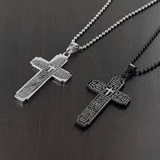 metal cross necklace images Men 39 s stainless steel lord 39 s prayer cross necklace free shipping jpg