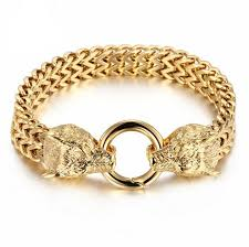 stainless steel charm bracelet chain images Men 39 s animal jewelry bulgaria mesh gold color stainless steel wolf jpg