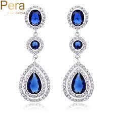 royal blue earrings aliexpress buy pera cz luxury royal bridal jewelry halo