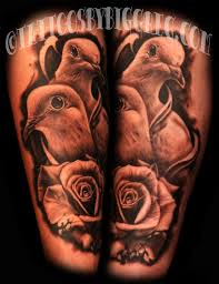 biggreg doves with a crumbling rose doves bird tattoos rose