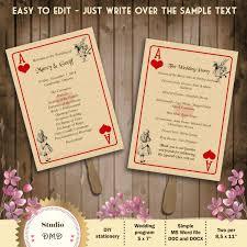 Word Template For Wedding Program Printable Wedding Program Template Alice In Wonderland