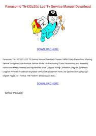 panasonic th l32c20x lcd tv service manual do by emilecollett issuu