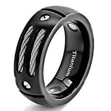black titanium rings mens titanium ring ebay
