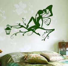 online get cheap wall art stencils aliexpress com alibaba group fairy on the tree branch for children kids bedroom wall art decal sticker removable vinyl transfer stencil mural home decor