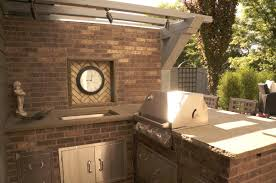 l shape outdoor kitchen design and decoration using brown brick