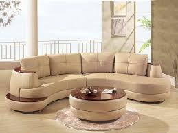 furniture lether corner sectional curved sofa set with cappucino