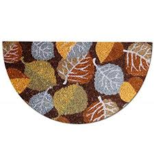 zerbino di cocco zerbino in fibra di cocco a semicerchio foglie d autunno 40x70 cm