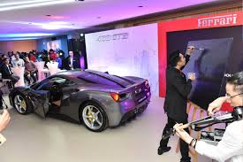 purple ferrari 488 gtb official launch vip launch