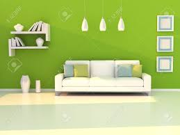 interior of the modern room green wall and white sofa stock photo