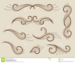 set of abstract scroll ornaments stock vector image 9751323