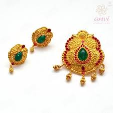 temple design gold earrings anvi s floral design temple jewellery pendent and earrings with
