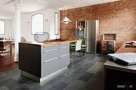 Stone Tile Kitchen Floors - minimalist loft kitchen design on stone tile floor with simply