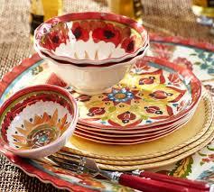 cabo melamine dinnerware set of 4 pottery barn