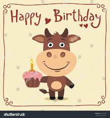 Cow Birthday Card Happy Birthday Funny Cow Birthday Cake Stock Vector 562195348