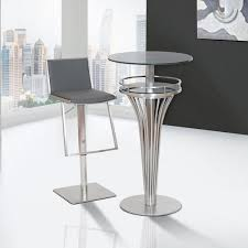 bar height glass table contemporary bar table in stainless steel and gray frosted regarding