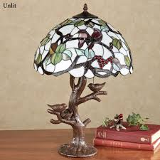 Glass Table Lamp Sitting Pretty Bird Stained Glass Lamp With Bulbs