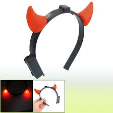 discount halloween costume red led light ladies devil horns