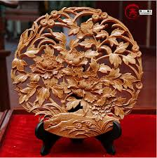 wood sculpture decor mahogany peony flower sculpture vintage style wood carving