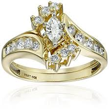 bridal ring set igi certified 14k yellow gold marquis diamond bypass