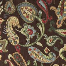 Yellow Home Decor Fabric Blue Red Green Yellow Brown Paisley Contemporary Upholstery